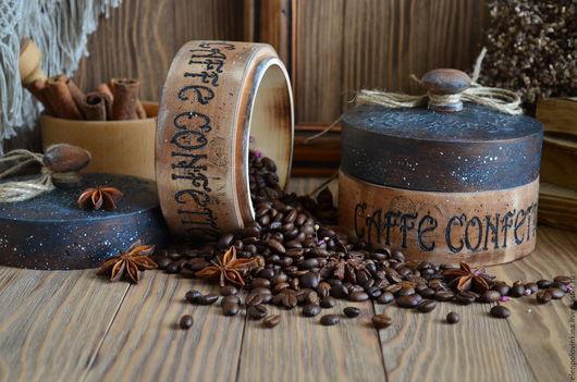 Набор коробов для зернового и молотого кофе в стиле старого итальянского кантри.