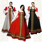 Русский стиль handmade. Livemaster - original item Linen long tunic for girl, woman Clavic, Russian traditional dress Rus. Handmade.