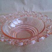 Винтаж handmade. Livemaster - original item Sugar bowl. PINK GLASS. Vintage. USSR.. Handmade.