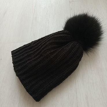 Одежда ручной работы. Ярмарка Мастеров - ручная работа Шапки: шапка вязаная с помпоном из натурального меха. Handmade.