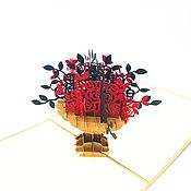 Сувениры и подарки handmade. Livemaster - original item Bouquet of roses in a beige vase - 3D handmade greeting card. Handmade.