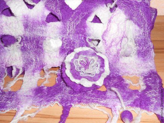 Шарфы и шарфики ручной работы. Ярмарка Мастеров - ручная работа. Купить Шарф Фиолетовый Акварель. Handmade. Фиолетовый, шарф женский