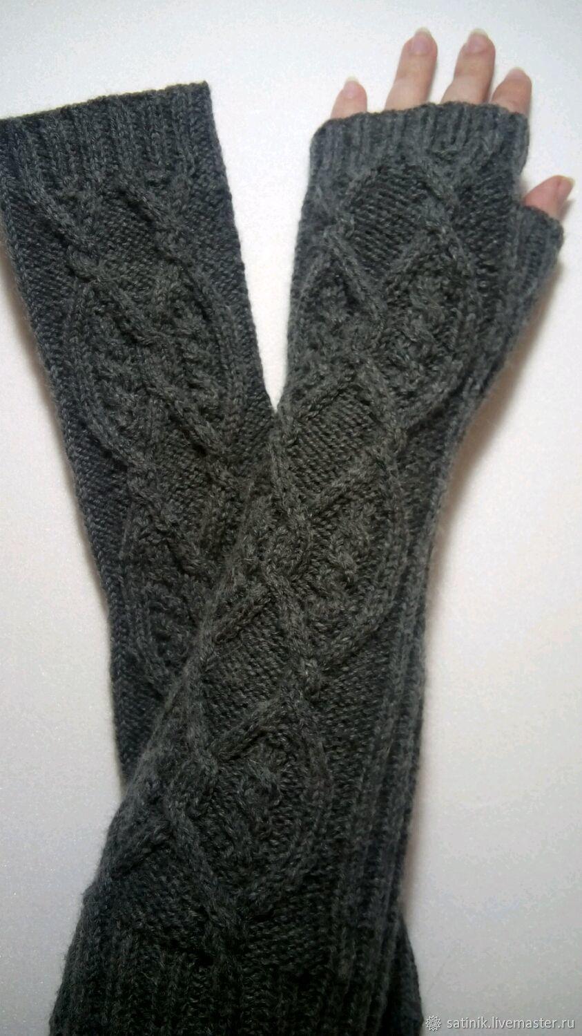 163 fingerless long gloves, dark grey, Mitts, Kamyshin,  Фото №1