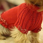 Для домашних животных, ручной работы. Ярмарка Мастеров - ручная работа Красный свитер для маленькой собачки из мериноса с. Handmade.