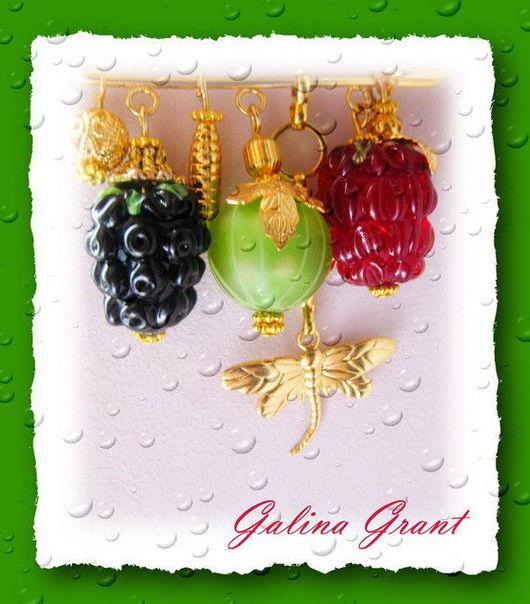 Броши ручной работы. Ярмарка Мастеров - ручная работа. Купить Брошь Драгоценные ягоды. Handmade. Позолоченная фурнитура, lampwork (лэмпворк)