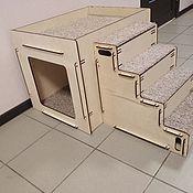 Домик для питомца ручной работы. Ярмарка Мастеров - ручная работа Лестница + тумба-домик  для животных. Handmade.