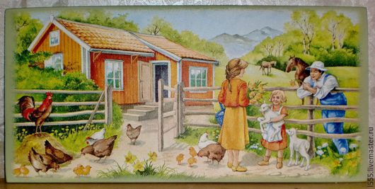 """Кухня ручной работы. Ярмарка Мастеров - ручная работа. Купить Разделочная доска панно """"Во дворе дома"""". Handmade. Разноцветный"""