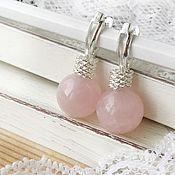 Украшения handmade. Livemaster - original item Earrings Rosebud / English rose quartz lock silver. Handmade.