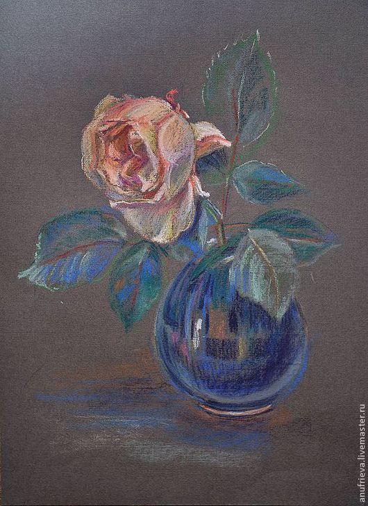Картины цветов ручной работы. Ярмарка Мастеров - ручная работа. Купить Роза. Набросок пастелью на пастельной бумаге.. Handmade. Розы