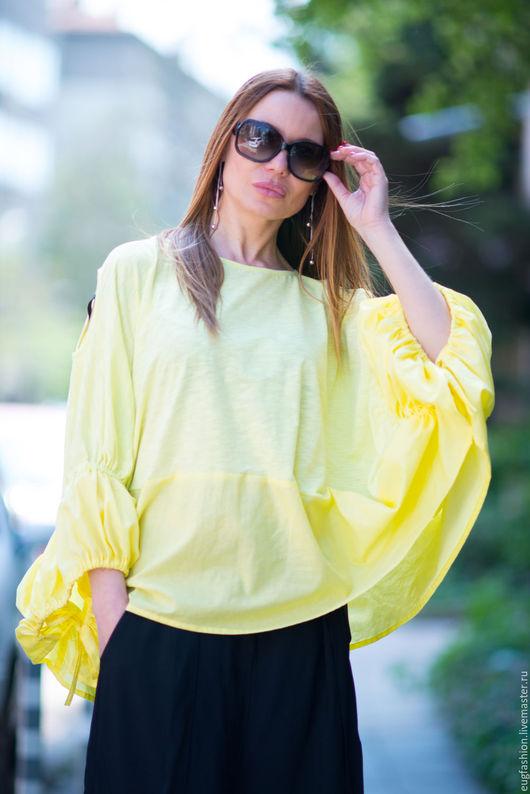 Желтая блузка. Блузка. Блузка из хлопка. Блузка. Ярмарка Мастеров.