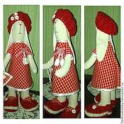Куклы и игрушки ручной работы. Ярмарка Мастеров - ручная работа Зайка тильда в красном платье. Handmade.