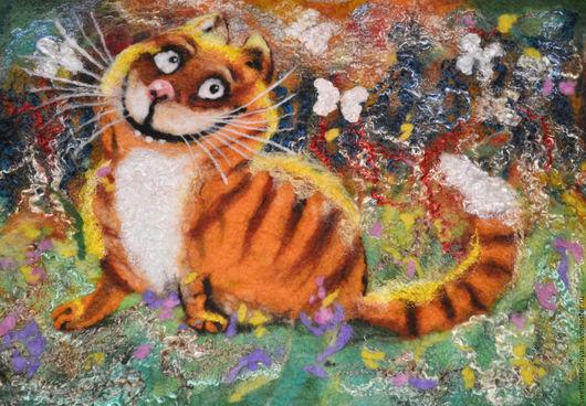 Животные ручной работы. Ярмарка Мастеров - ручная работа. Купить Картина из шерсти Солнечный кот. Handmade. Рыжий, шерстяная акварель