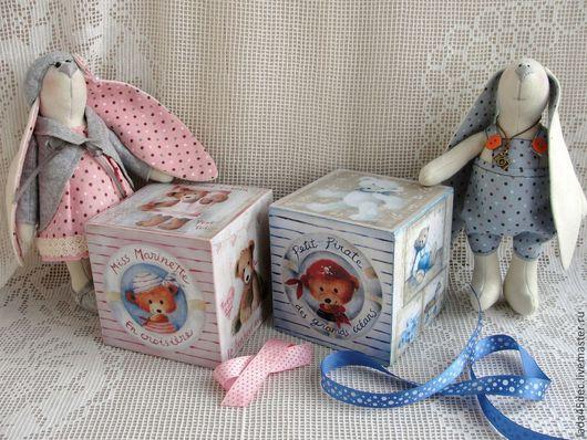 Детская ручной работы. Ярмарка Мастеров - ручная работа. Купить Кубики интерьерные Мишутка. Handmade. Голубой, детская, для фотосессий малышей