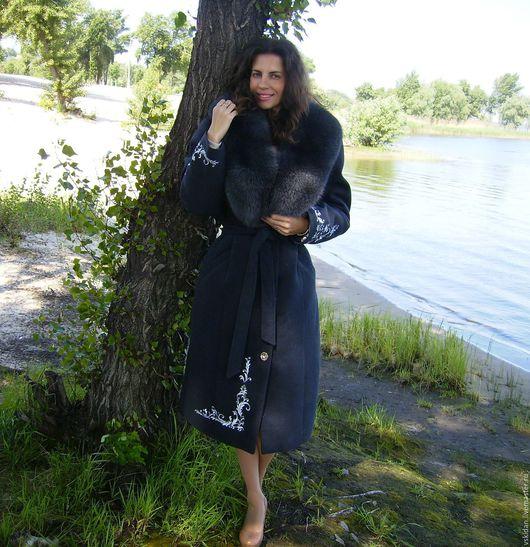 Верхняя одежда ручной работы. Ярмарка Мастеров - ручная работа. Купить Пальто зимнее из кашемира с песцом. Handmade. Пальто зимнее