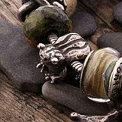 """Украшения ручной работы. Ярмарка Мастеров - ручная работа """"Лягушка"""" серебряная бусина для браслетов. Handmade."""