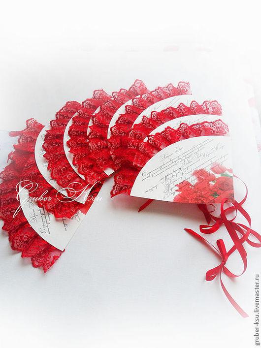 Свадебные аксессуары ручной работы. Ярмарка Мастеров - ручная работа. Купить Пригласительные на свадьбу в испанском стиле. Handmade. Ярко-красный