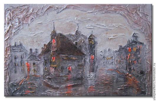 Город ручной работы. Ярмарка Мастеров - ручная работа. Купить Городские пейзажи 50х80 и 50х70 см картины акрилом с рельефом. Handmade.
