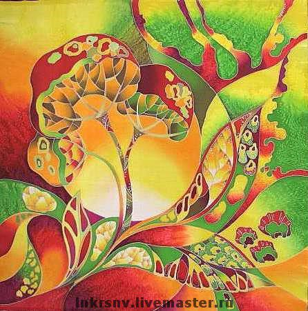 """Шали, палантины ручной работы. Ярмарка Мастеров - ручная работа. Купить Платок """"Травы"""". Handmade. Травы, растительный орнамент, шелк"""