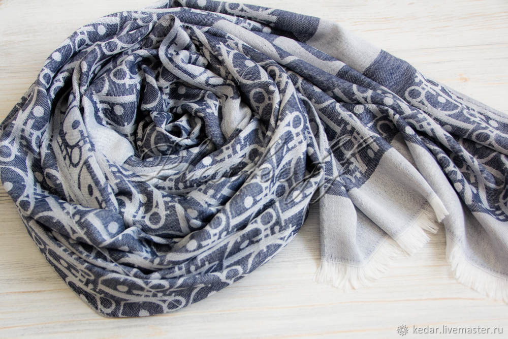 Denim women's stole from Dior Monogram fabric, Scarves, Moscow,  Фото №1