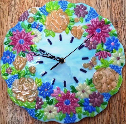 """Часы для дома ручной работы. Ярмарка Мастеров - ручная работа. Купить Часы из стекла """"Прованс"""" фьюзинг. Handmade. Голубой, сиреневый"""