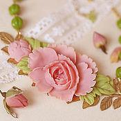 """Украшения ручной работы. Ярмарка Мастеров - ручная работа Колье """"Рузанна"""",розовое-зелёное. Handmade."""