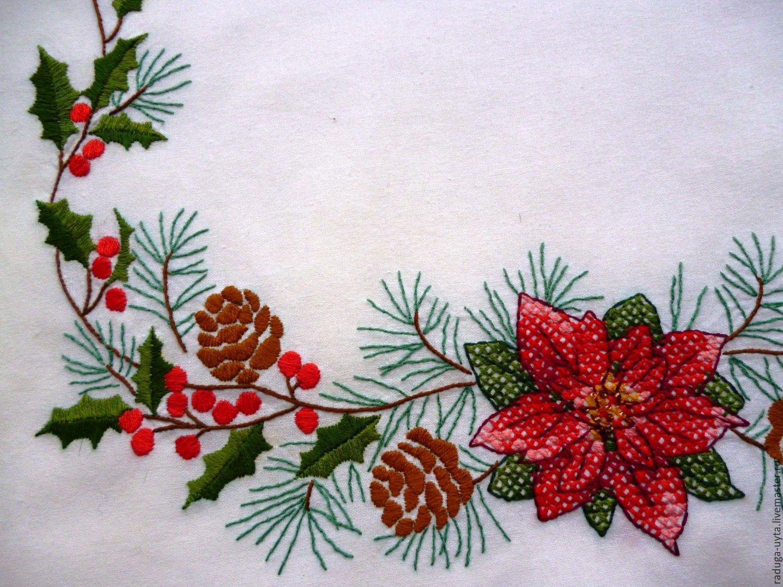 Вышивка бисером для скатерти
