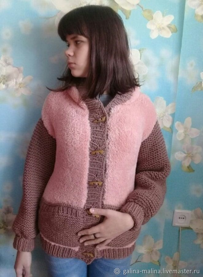Knitted jacket with fur, author's work, Wind Jackets, Penza,  Фото №1