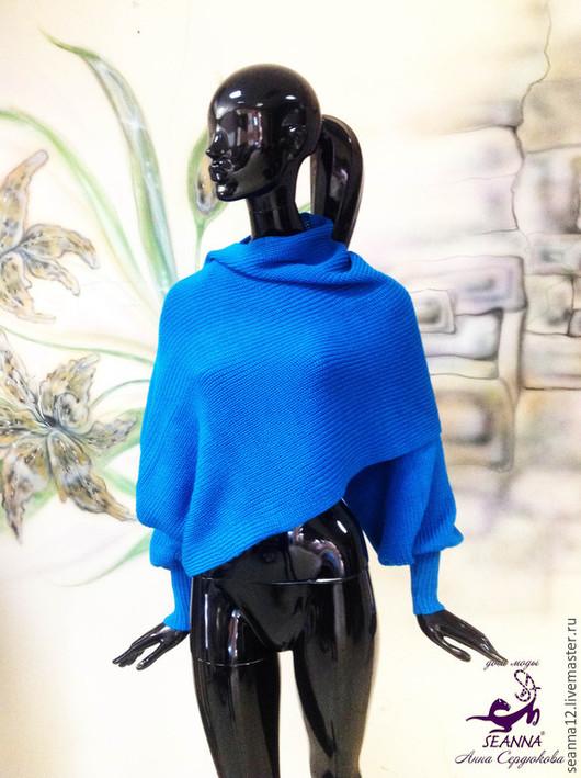 """Большие размеры ручной работы. Ярмарка Мастеров - ручная работа. Купить Безразмерный шарф-свитер вязаный из мериноса с шелком """"Волна"""". Handmade."""