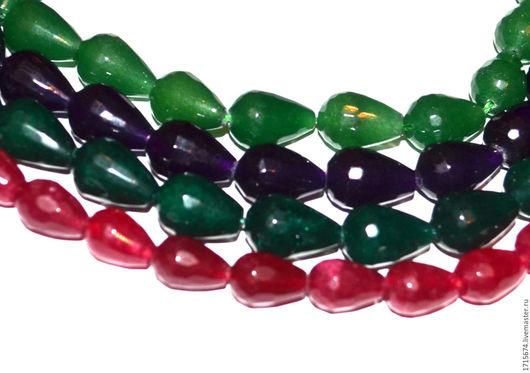 Для украшений ручной работы. Ярмарка Мастеров - ручная работа. Купить Агат, капли с огранкой. Handmade. Зеленый, фиолетовый, малиновый