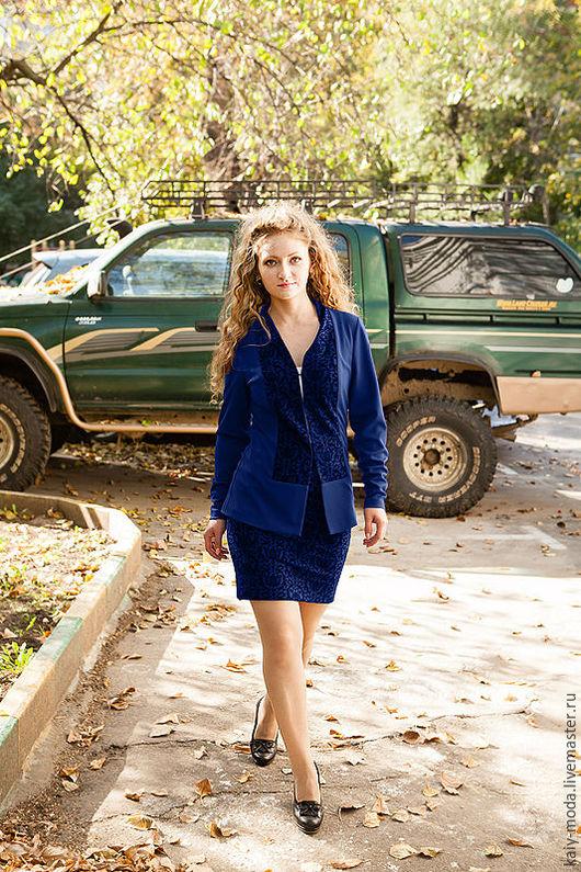 Костюмы ручной работы. Ярмарка Мастеров - ручная работа. Купить Новинка - Костюм - пиджак и прямая юбка со шлицей - темно-синий. Handmade.