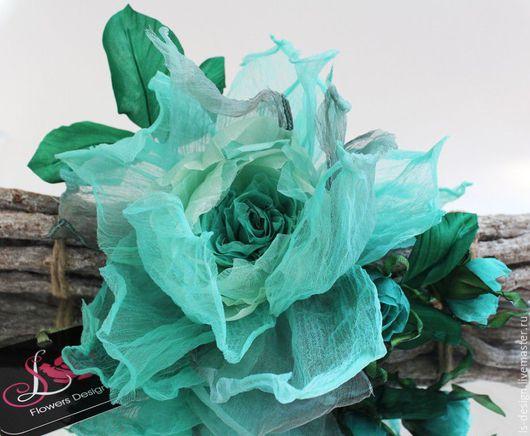 Броши ручной работы. Ярмарка Мастеров - ручная работа. Купить Брошь – заколка,  шелковая роза «Бегущая по волнам». Цветы из ткани. Handmade.