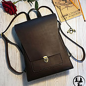 Сумки и аксессуары handmade. Livemaster - original item Womens leather backpack ANGLE chocolate. Handmade.