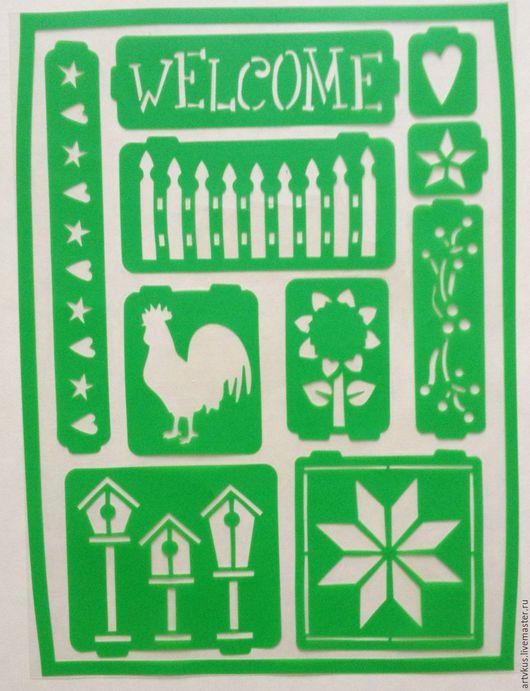 Декупаж и роспись ручной работы. Ярмарка Мастеров - ручная работа. Купить Трафарет, домик в деревне, многоразовый 10 -20 см.. Handmade.