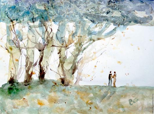 """Фантазийные сюжеты ручной работы. Ярмарка Мастеров - ручная работа. Купить Картина """"Лес встреч"""" акварель. Handmade. Двое, деревья"""