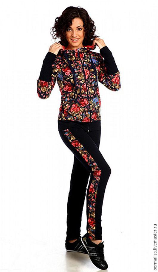 Костюмы ручной работы. Ярмарка Мастеров - ручная работа. Купить Костюм Rose. Handmade. Цветочный, куртка с капюшоном, брюки женские