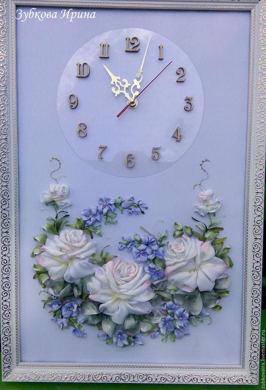 Часы для дома ручной работы. Ярмарка Мастеров - ручная работа. Купить часы вышитые розы. Handmade. Белый, вышитые цветы