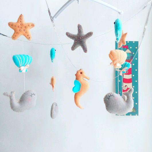 Детская ручной работы. Ярмарка Мастеров - ручная работа. Купить Мобиль в кроватку из фетра, декор  - Морские жители. Handmade.