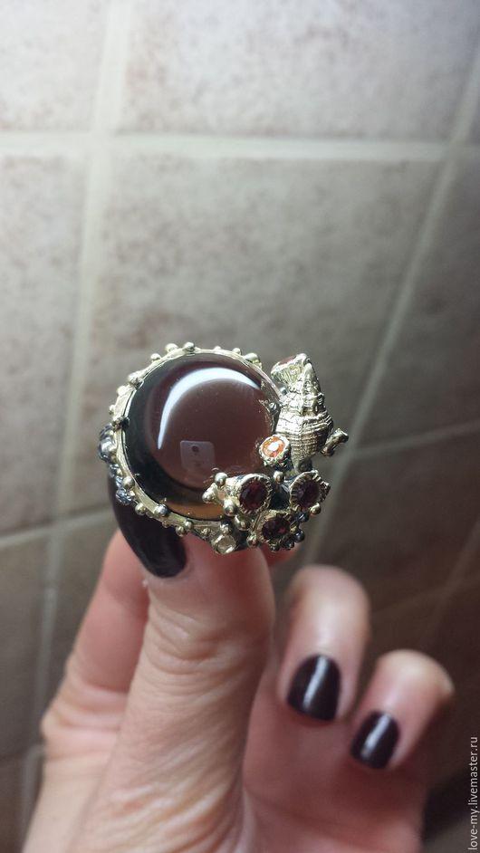 Кольца ручной работы. Ярмарка Мастеров - ручная работа. Купить SALE Владычица морская. Кольцо Дымчатый кварц, серебро, позолота. Handmade.