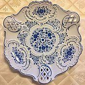 Vintage plates handmade. Livemaster - original item Dish large porcelain cobalt Germany antique. Handmade.