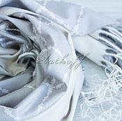 Аксессуары handmade. Livemaster - original item Scarves: Double-sided light gray scarf in diamonds