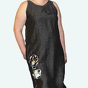 """Одежда ручной работы. Ярмарка Мастеров - ручная работа Платье бохо """"Черный мак"""" льняное. Handmade."""