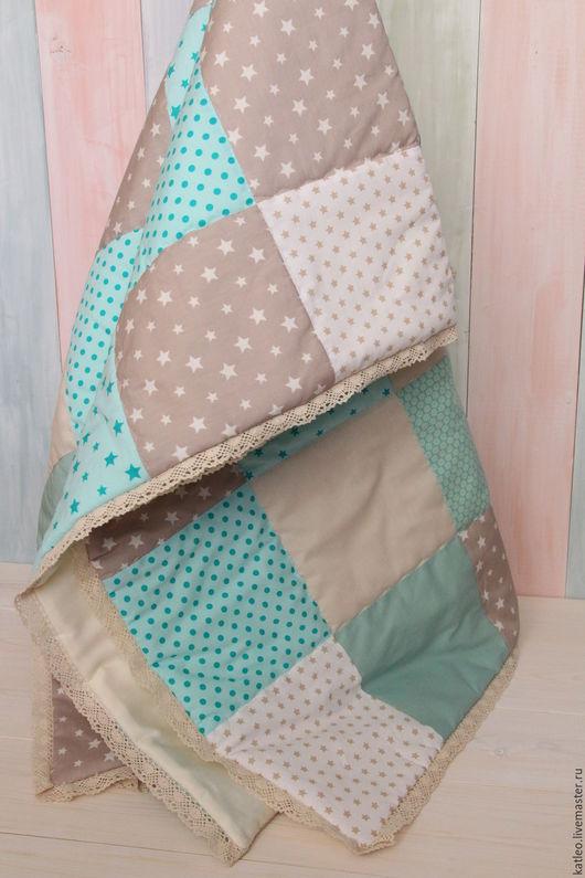 Для новорожденных, ручной работы. Ярмарка Мастеров - ручная работа. Купить Одеяло лоскутное. Handmade. Мятный, хлопок 100%