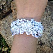 Украшения handmade. Livemaster - original item Bracelet wedding White lace embroidered of pearls and soutache. Handmade.