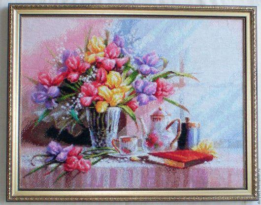 Натюрморт ручной работы. Ярмарка Мастеров - ручная работа. Купить Вышитая картина''Натюрморт с цветами''. Handmade. Комбинированный, счетный крест