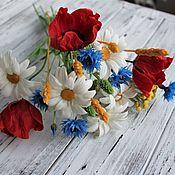 Букеты ручной работы. Ярмарка Мастеров - ручная работа Букет полевых цветов (холодный фарфор). Handmade.