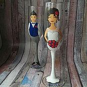 Свадебный салон ручной работы. Ярмарка Мастеров - ручная работа Парные свадебные бокалы. Handmade.