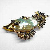 handmade. Livemaster - original item Fish brooch with Baroque sea pearl. Handmade.