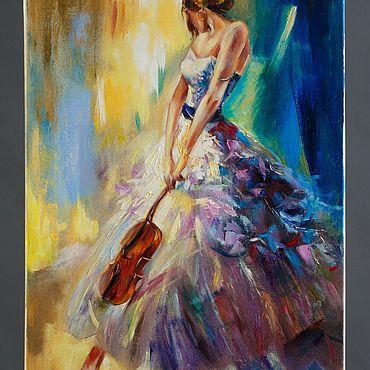 Картины и панно ручной работы. Ярмарка Мастеров - ручная работа Картины: Красавица скрипачка. Handmade.
