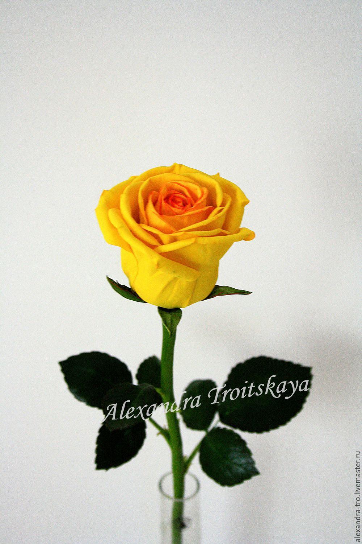 "Купить МАСТЕР-КЛАСС розы ""SUNSHINE"" из фоамирана на стебле из х. фарфора - желтый, МК"