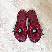 Обувь ручной работы. Ярмарка Мастеров - ручная работа Кожаные домашние тапочки Маки. Handmade.